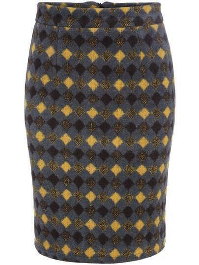 Multicolor Slim Diamond Patterned Split Skirt