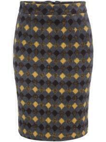 Multicolor Slim Diamond Patterned Split Skirt