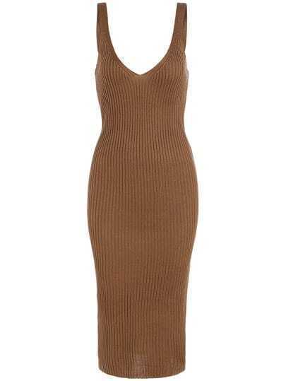 Khaki Spaghetti Strap Slim Sweater Dress