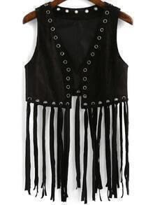 Black Perforation Tassel Vest