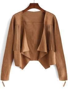 Khaki Long Sleeve Tassel Crop Coat