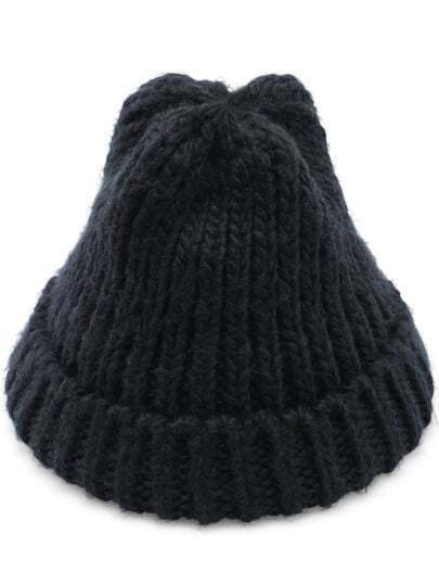 Black Casual Knit Hat