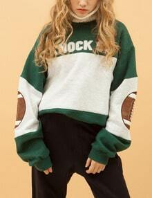 Green White Elbow Patch Letters Print Sweatshirt