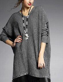 Grey V Neck Batwing Sleeve Loose Sweater