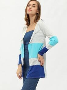 Colour-block Slim Sweater Coat