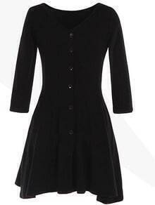 Black V Neck Slim Buttons Dress