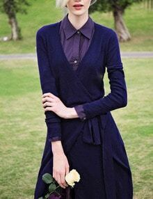 Navy V Neck Tie-Waist Slim Dress