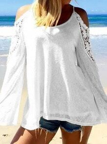White Spaghetti Strap Cold Shoulder With Lace Blouse