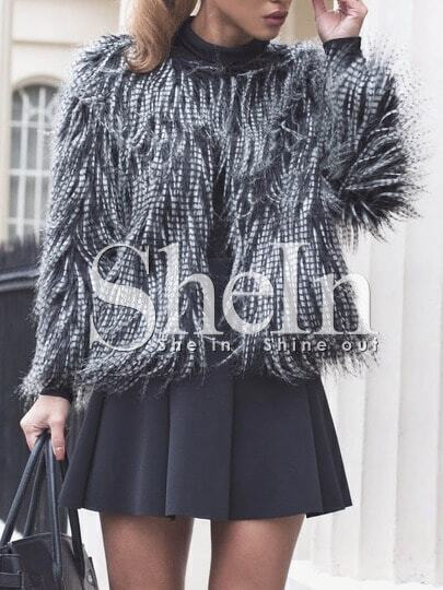 Black White Long Sleeve Faux Fur Coat pictures