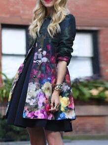 Multicolor Long Sleeve Lapel Floral Coat