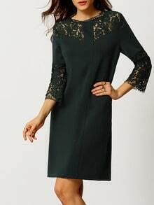 Green Round Neck With Lace Dress