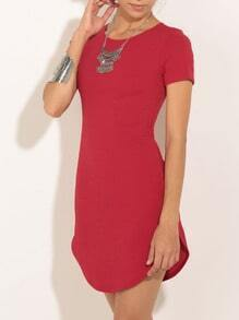 Red Round Neck Short Sleeve Dress