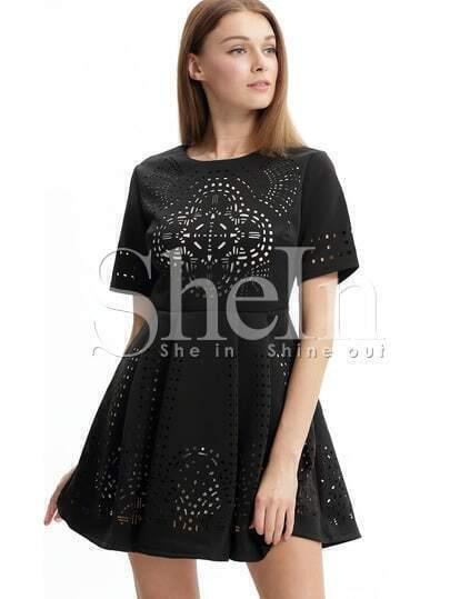 Black Short Sleeve Hollow Flare Dress