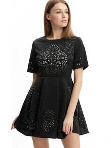 Black Short Sleeve Hollow Flare Dress
