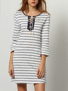 Blue White Long Sleeve Striped Dress