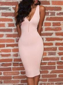 Pink Sleeveless Backless Sheath Dress