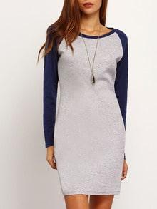 Grey Blue Long Sleeve Color Block Bodycon Dress