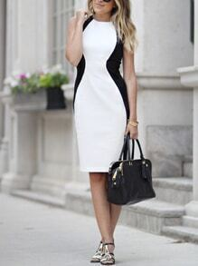 Black White Sleeveless Color Block Dress