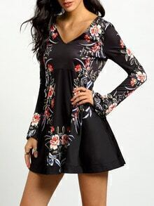 Black Long Sleeve Backless Floral Dress