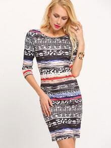 Multicolor V Back Vintage Print Sheath Dress