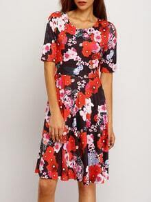 Multicolor Short Sleeve Floral Pleated Dress