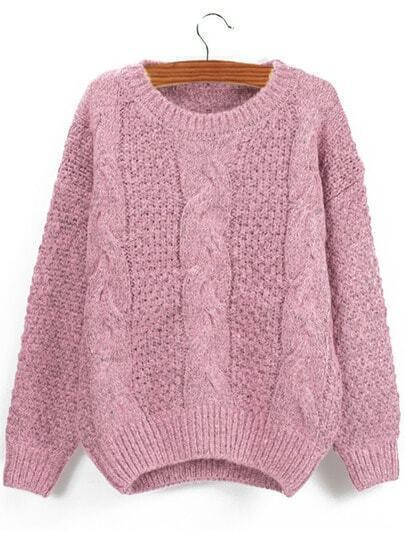 Pink Round Neck Chunky Cable Knit Sweater