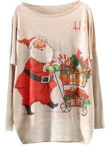 Multicolor Batwing Sleeve Christmas Gift Print Knitwear