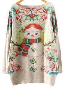 Multicolor Batwing Sleeve Christmas Snowman Print Knitwear