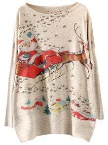 Multicolor Batwing Sleeve Christmas Reindeer Print Knitwear