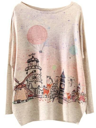 Multicolor Batwing Sleeve Castle Deer Print Knitwear