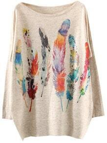 Multicolor Batwing Sleeve Feather Print Knitwear