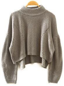 Grey Stand Collar Lantern Sleeve Crop Sweater