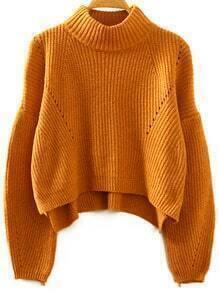 Khaki Stand Collar Lantern Sleeve Crop Sweater
