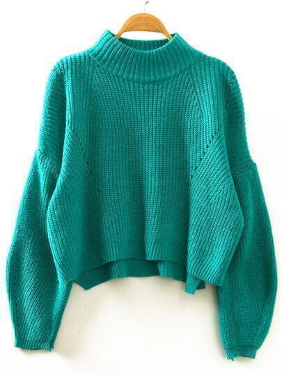 Green Stand Collar Lantern Sleeve Crop Sweater