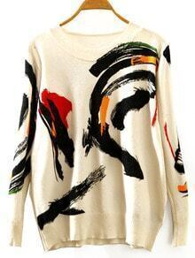 Multicolor Round Neck Abstract Print Loose Knitwear