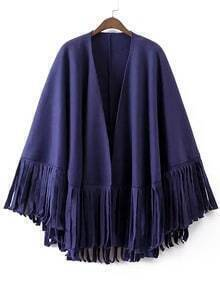 Purple Tassel Loose Cape Coat