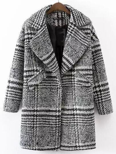 Black White Lapel Houndstooth Woolen Coat