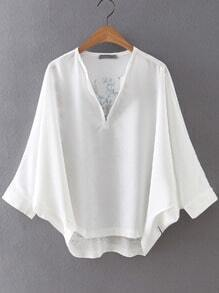 White V Neck Batwing Sleeve Embroidered Blouse