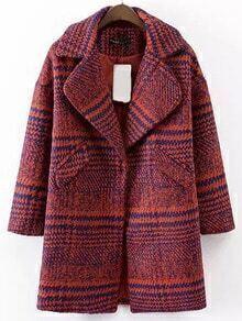 Red Blue Lapel Houndstooth Woolen Coat