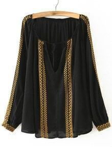 Black V Neck Long Sleeve Embroidered Blouse