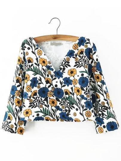 Multicolor V Neck Floral Crop Top