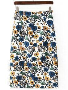 Multicolor Slim Floral Midi Skirt
