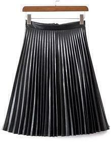 Black Pleated PU Skirt