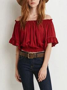 Red Boat Neck Ruffle Sleeve Crop Blouse