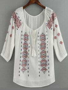 White Tie-neck Embroidered Loose Blouse