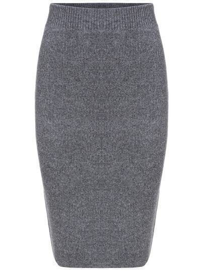 Grey Slim Split Sweater Skirt
