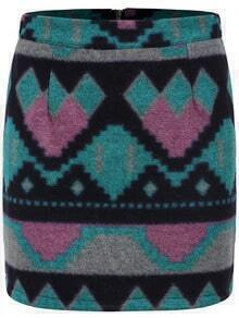 Multicolor Geometric Patterned Bodycon Skirt