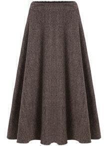 Khaki High Waist Long Skirt