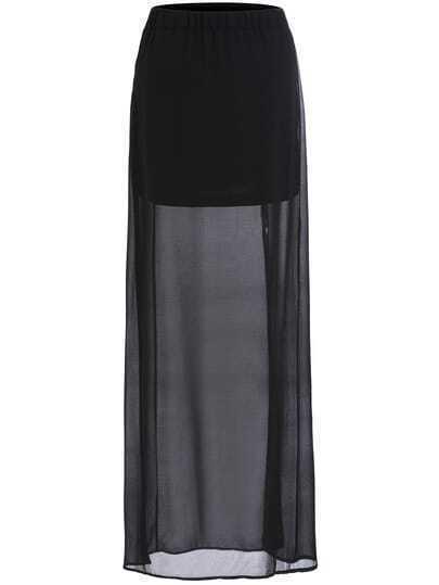 Black Split Sheer Chiffon Skirt