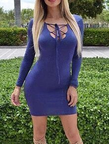 Blue Long Sleeve Lace Up Bodycon Dress